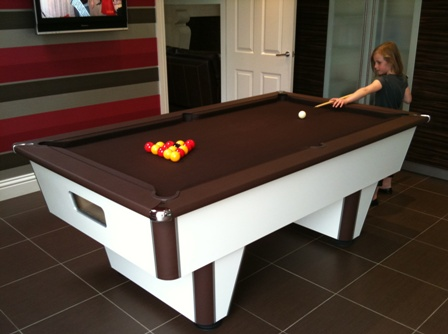 premier league pool table, nutmeg brown cloth modelled by Jessie