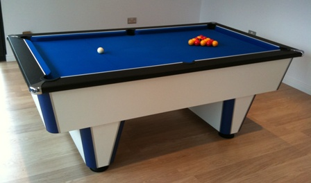 mercury premier league pool table blue cloth and leather