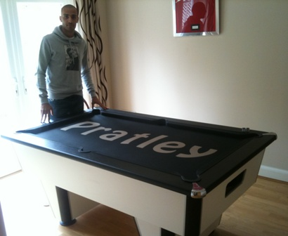 darren pratley with his customised cloth pool table