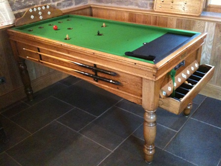 Antique Bar Billiard Table And New Bar Billiards Spares Mushrooms - Normal pool table size