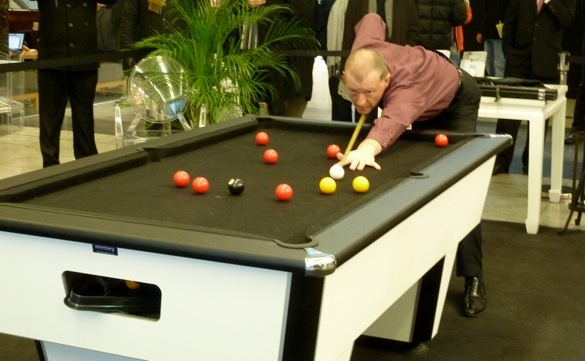 Snooker legend steve davies playing our mercury premier league table- he loved it!