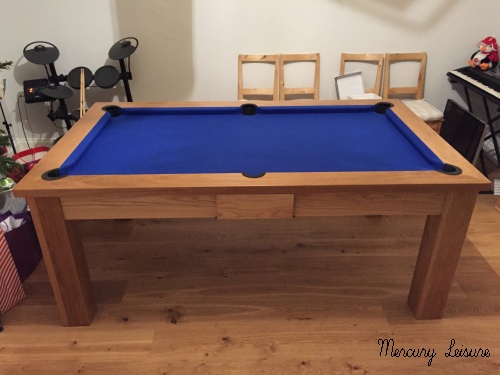 Square leg solid oak dining table/pool table