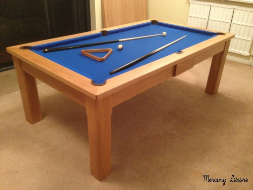 Solid oak 7ft league slate bed pool table uk pocket