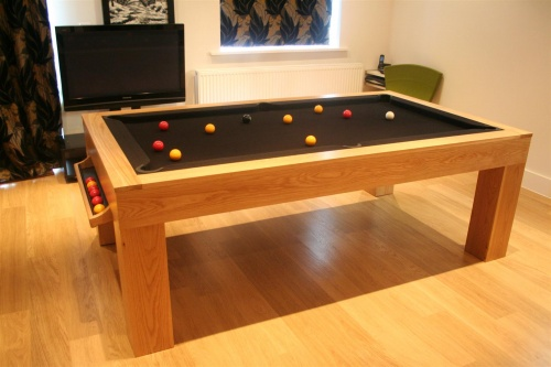 Playtime View. Solid Oak Luxury Pool Tables, Modern Dining Table ...